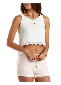 Crochet & Chiffon High-Low Tank Top