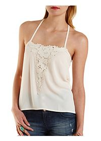 Strappy Crochet Applique Tank Top
