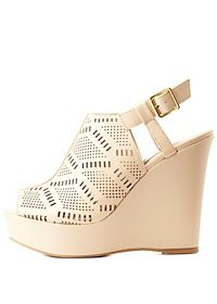 Peep Toe Laser-Cut Slingback Wedges