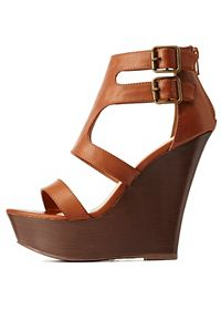 Bamboo Strappy Cut-Out Wooden Platform Wedges
