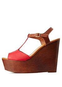 Bamboo Color Block T-Strap Wooden Wedges