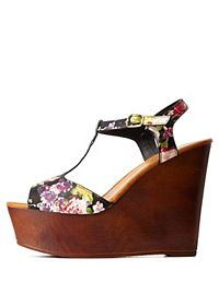 Bamboo Floral T-Strap Wooden Wedges