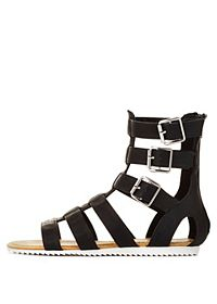 Bamboo Buckled Flat Gladiator Sandals