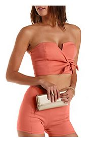 Bow-Front Strapless Crop Top