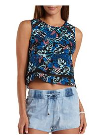 Crochet Cut-Out Tropical Print Tank Top