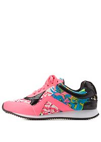 Tropical Print Lace-Up Sneakers