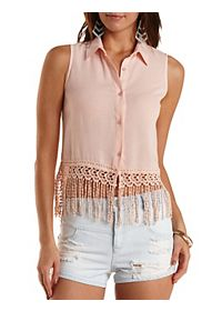 Crocheted Fringe Button-Up Shirt
