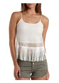 Lace & Fringe Tank Top