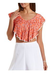 Pom-Pom Trim Flutter Crop Top
