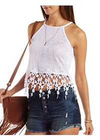 Flower Fringe Slub Knit Crop Top