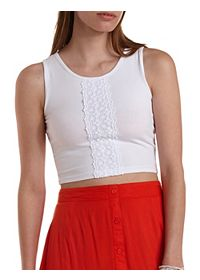 Crochet Accent Sleeveless Crop Top