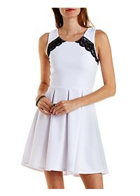Textured Lace-Trim Skater Dress