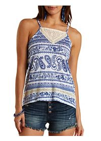 Mixed Print & Lace Swing Tank Top