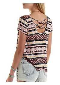 Strappy-Back High-Low Printed Tee