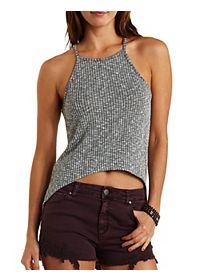 Racer Front Ribbed High-Low Tank Top