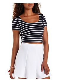 Striped Bar-Back Cropped Tee