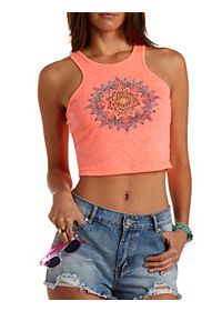 Racer Front Rhinestone Medallion Tank Top