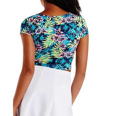 Tropical Print Tie-Front Crop Top