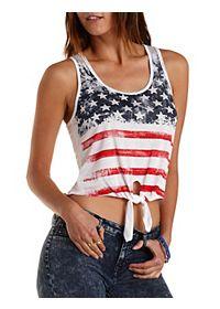 Knotted American Flag Tank Top