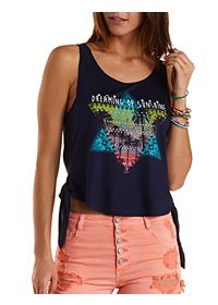 Sunshine Side-Tie Graphic Tank Top