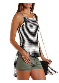 Striped High-Low Tank Top