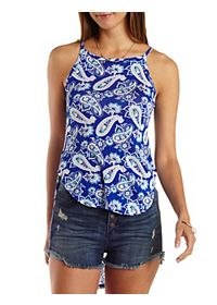 Paisley Print High-Low Tank Top