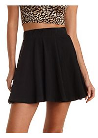 High-Waisted Cotton Skater Skirt