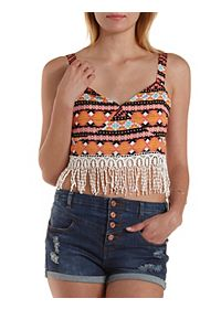 Crocheted Fringe Bustier Crop Top