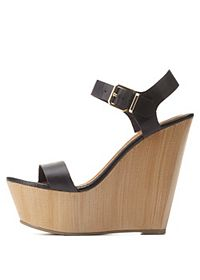 Single Strap Wooden Platform Wedges