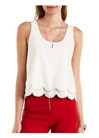 Beaded & Scalloped Swing Tank Top