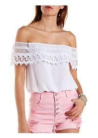 Crochet Off-the-Shoulder Flounce Top