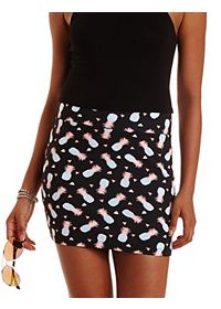 Pineapple Print Bodycon Mini Skirt