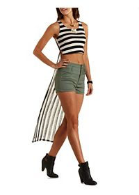 Striped Extreme High-Low Tank Top