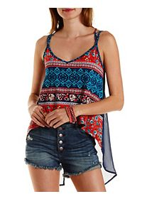 Strappy Knit & Chiffon High-Low Tank Top