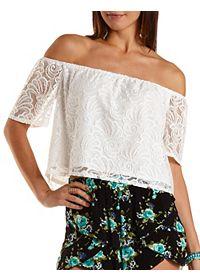 Off-The-Sholder Lace Crop Top