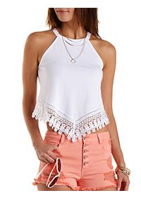 Crochet-Trim Racer Front Crop Top