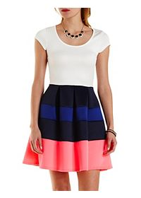 Color Block Striped Skater Dress