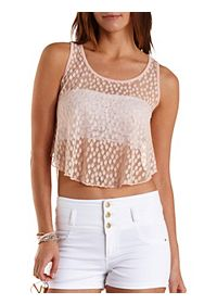 Dotted Lace High-Low Tank Top