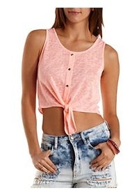 Tie -Front Button-Up Tank Top
