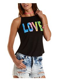 Love Graphic Racer Front Tank Top