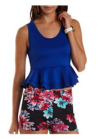 Sleeveless Double Peplum Crop Top