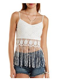 Crocheted Lace & Fringe Crop Top