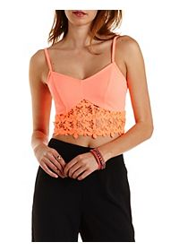Crochet-Trim Neon Crop Top
