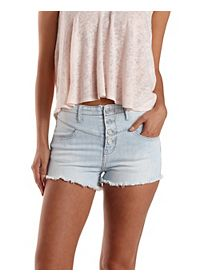 "Refuge ""V Front Shortie"" Cut-Off Denim Shorts"
