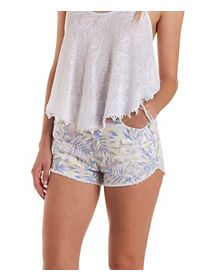 "Refuge ""Vintage Cheeky"" Tropical Denim Shorts"