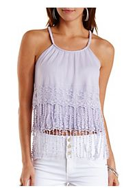 Embroidered Mesh Fringe Tank Top