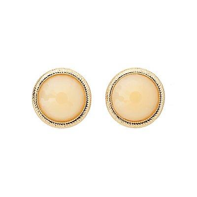 Oversized Faceted Stone Stud Earrings