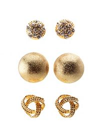 Knot & Dome Stud Earrings - 3 Pack