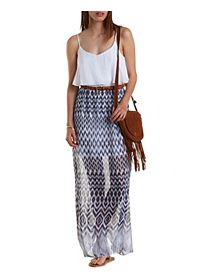 Ikat & Gauze Flounce Maxi Dress