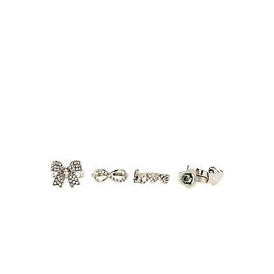Rosette Love Stackable Rings - 5 Pack